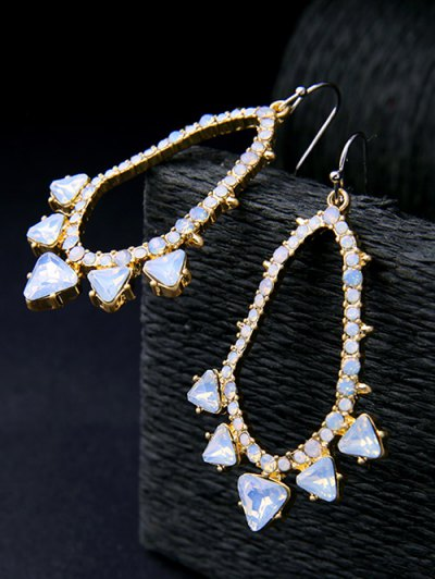 Rhinestoned Artificial Gem Earrings - GOLDEN  Mobile