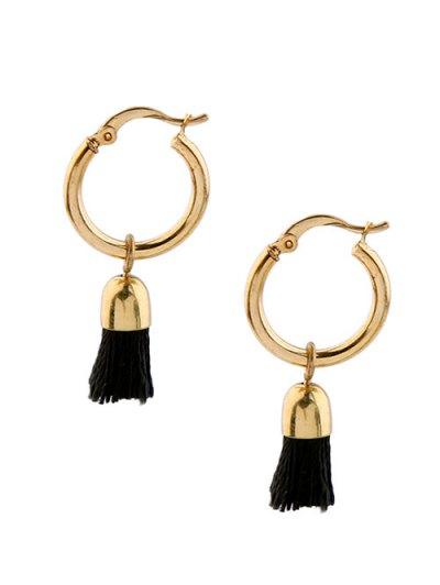 Vintage Tassel Circle Drop Earrings - BLACK  Mobile
