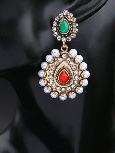 Vintage Artificial Pearl Gem Teardrop Earrings - GOLDEN  Mobile