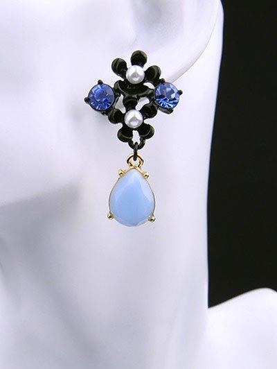 Faux Pearl Rhinestone Teardrop Flower Earrings - BLUE  Mobile