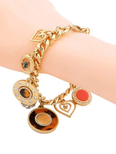 Rhinestone Circle Heart Charm Bracelet - GOLDEN  Mobile