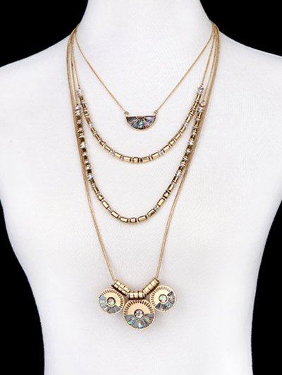 Faux Gem Circle Layered Necklace - GOLDEN  Mobile