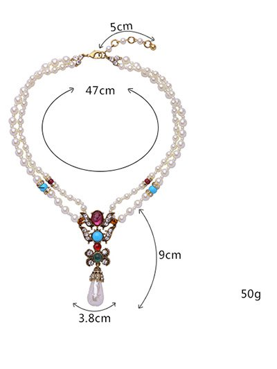 Faux Pearl Teardrop Beaded Necklace - WHITE  Mobile