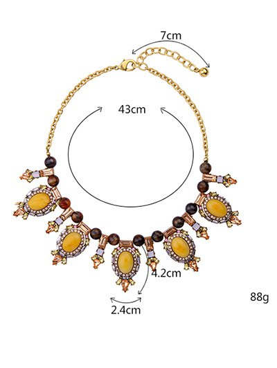 Oval Artificial Gem Beads Necklace - GOLDEN  Mobile