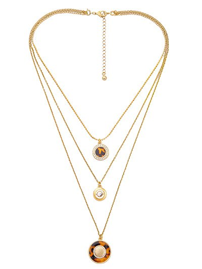 Rhinestone Circle Leopard Print Layered Necklace - GOLDEN  Mobile