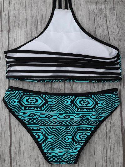 High Neck Tribal Print Bikini - BLUE GREEN XL Mobile