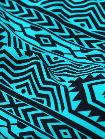 High Neck Tribal Print Bikini - BLUE GREEN L Mobile
