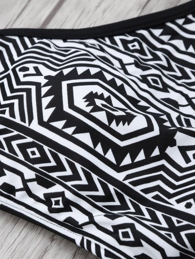 High Neck Tribal Print Bikini - BLACK 2XL Mobile
