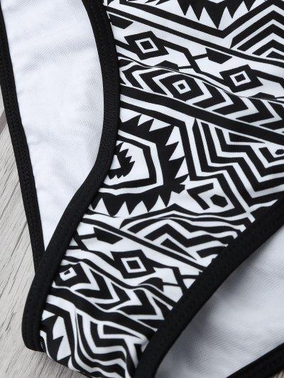 High Neck Tribal Print Bikini - BLACK L Mobile