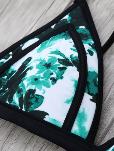 Chinese Floral Painting Cami Bikini - GREEN M Mobile