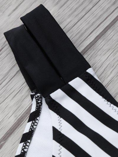 Halter Two Tone Striped Bikini - WHITE AND BLACK XL Mobile