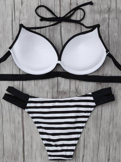 Halter Two Tone Striped Bikini - WHITE AND BLACK M Mobile