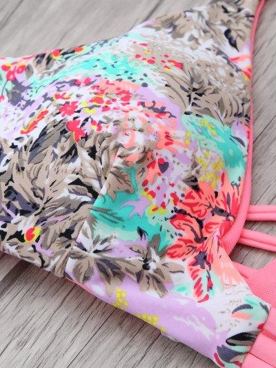 Printed Spaghetti Strap Bikini - PINK M Mobile