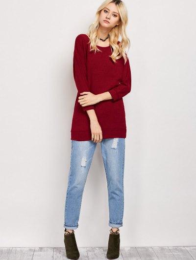 Dolman Sleeve Round Collar Sweatshirt - BURGUNDY S Mobile