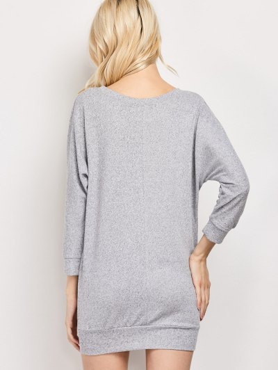 Dolman Sleeve Round Collar Sweatshirt - GRAY L Mobile