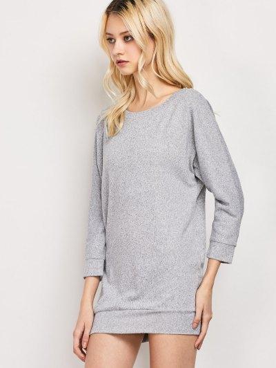Dolman Sleeve Round Collar Sweatshirt - GRAY M Mobile