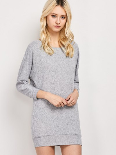 Dolman Sleeve Round Collar Sweatshirt - GRAY XS Mobile
