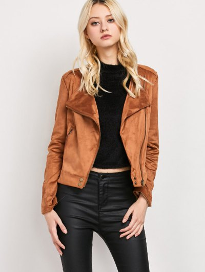 Fringe Asymetrical Suede Jacket - BROWN XL Mobile
