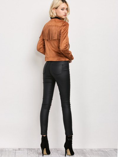 Fringe Asymetrical Suede Jacket - BROWN L Mobile