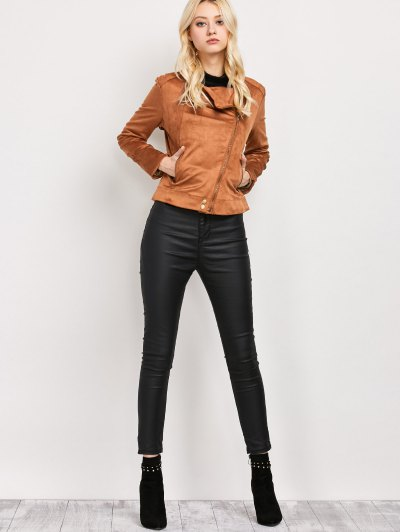Fringe Asymetrical Suede Jacket - BROWN XS Mobile