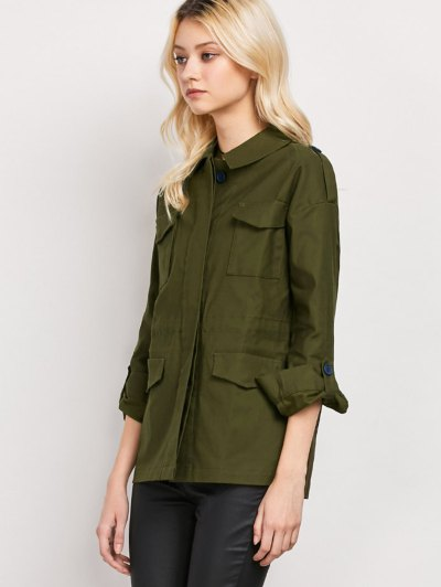 Pockets Turndown Collar Utility Jacket - ARMY GREEN 2XL Mobile