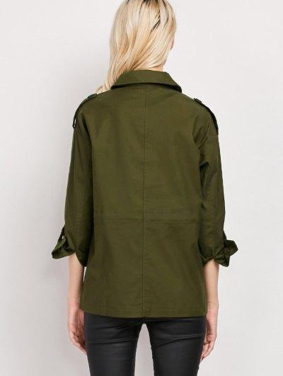 Pockets Turndown Collar Utility Jacket - ARMY GREEN L Mobile