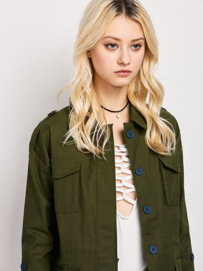 Pockets Turndown Collar Utility Jacket - ARMY GREEN S Mobile