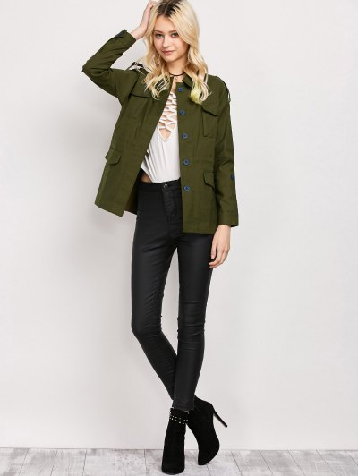 Pockets Turndown Collar Utility Jacket - ARMY GREEN XS Mobile
