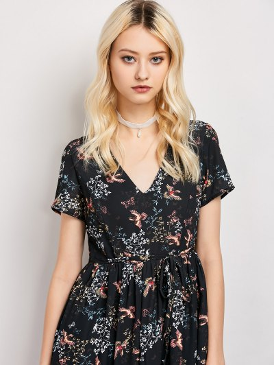 Tiny Floral V Neck Maxi Dress - BLACK 2XL Mobile
