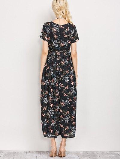 Tiny Floral V Neck Maxi Dress - BLACK S Mobile