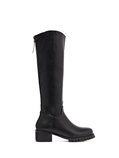 Faux Leather Zip Knee High Boots - BLACK 37 Mobile