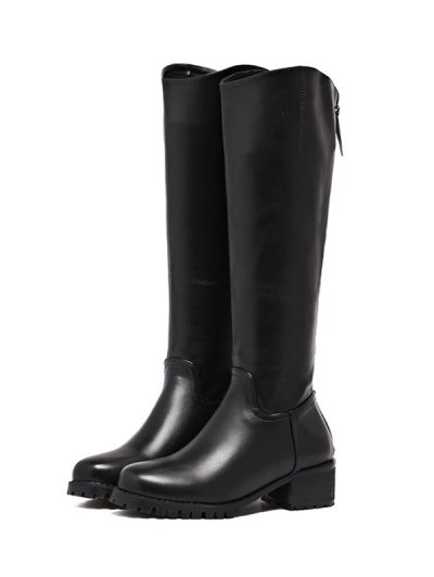 Faux Leather Zip Knee High Boots - BLACK 38 Mobile