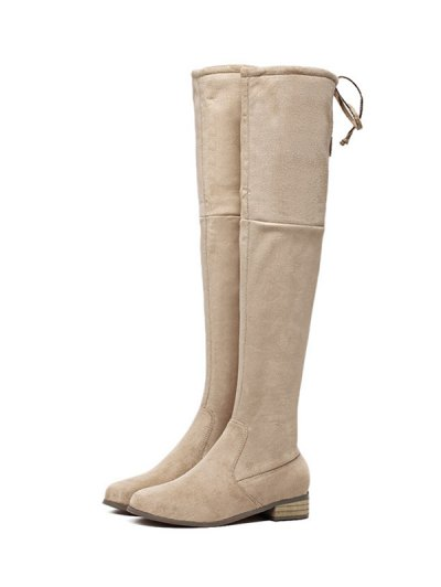 Flat Heel Zip Tie Up Thigh Boots - APRICOT 37 Mobile