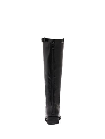 Belt Buckle Zipper Knee High Boots - BLACK 39 Mobile
