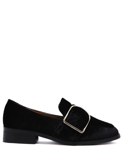 Belt Buckle Square Toe Velvet Flat Shoes - BLACK 37 Mobile