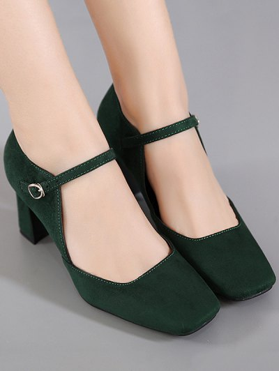 Flock Block Heel Square Toe Pumps - BLACKISH GREEN 38 Mobile