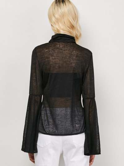 Flare Sleeve See-Through T-Shirt - BLACK L Mobile