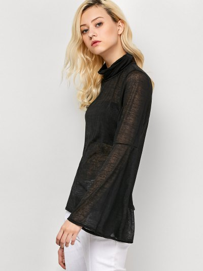 Flare Sleeve See-Through T-Shirt - BLACK M Mobile