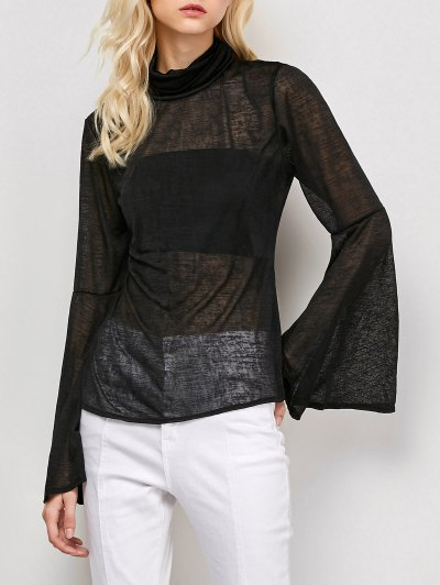 Flare Sleeve See-Through T-Shirt - BLACK S Mobile
