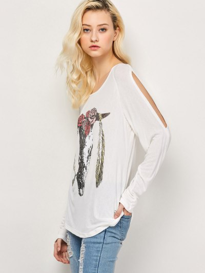 Printed Cold Shoulder T-Shirt - WHITE XL Mobile