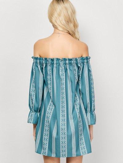 Striped Off The Shoulder Mini Dress - LIGHT GREEN L Mobile