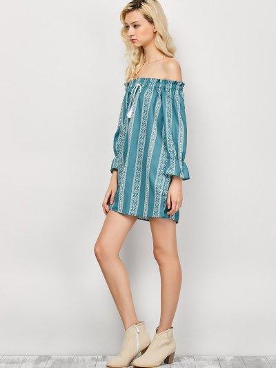 Striped Off The Shoulder Mini Dress - LIGHT GREEN M Mobile