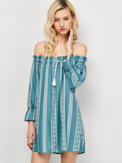 Striped Off The Shoulder Mini Dress - LIGHT GREEN S Mobile