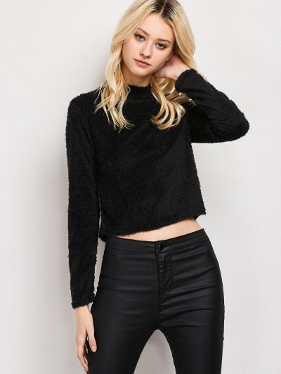 High Neck Fuzzy Cropped T-Shirt - BLACK M Mobile