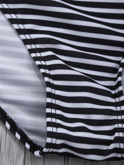 Striped High Waisted Bikini Set - BLACK L Mobile
