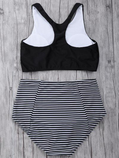 Striped High Waisted Bikini Set - BLACK M Mobile