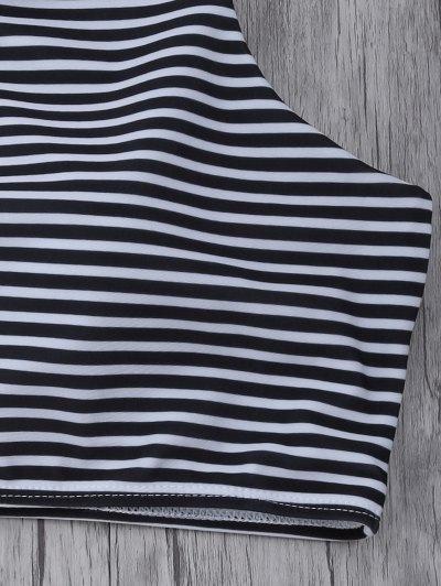 Striped High Neck Cutout Bikini Set - ORANGEPINK L Mobile