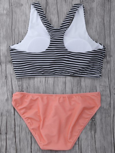 Striped High Neck Cutout Bikini Set - ORANGEPINK M Mobile