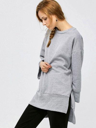 Slit High Low Sweatshirt - GRAY M Mobile