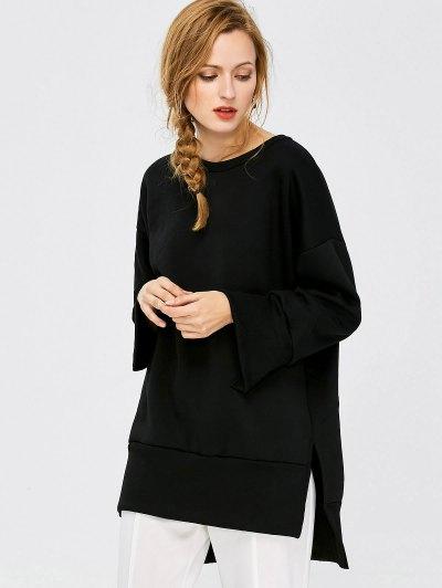 Slit High Low Sweatshirt - BLACK M Mobile